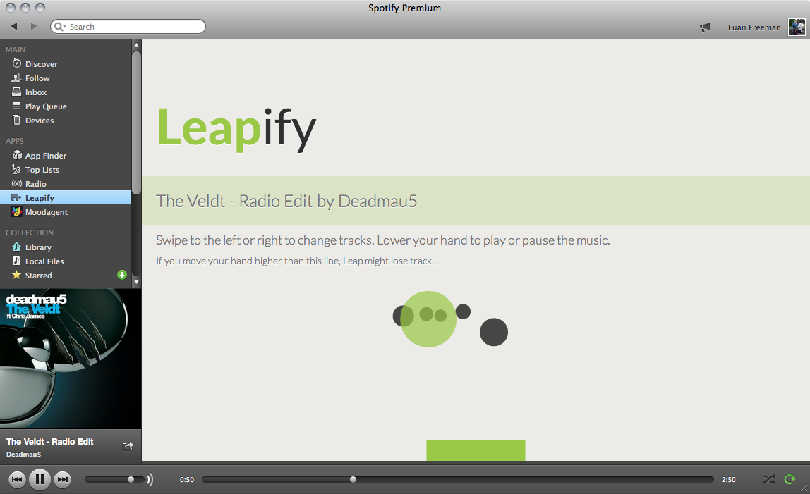 Leapify screenshot.